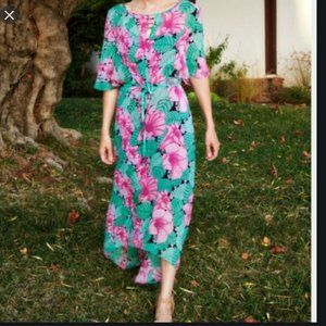 Anthropologie Leifnotes Hibiscus Maxi Floral Dress